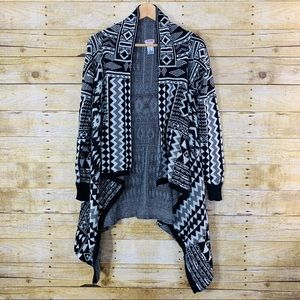 Mossimo Cardigan Open Front Cotton Black Large